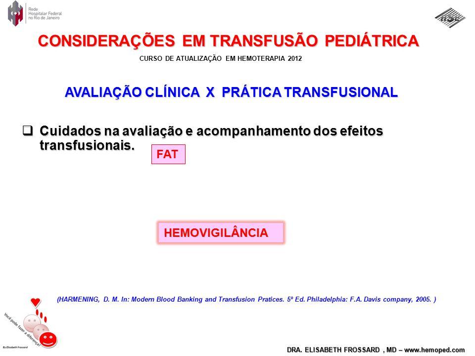 AVALIAÇÃO CLÍNICA X PRÁTICA TRANSFUSIONAL