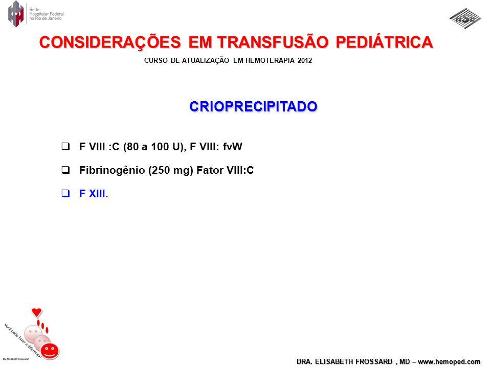 CRIOPRECIPITADO F VIII :C (80 a 100 U), F VIII: fvW