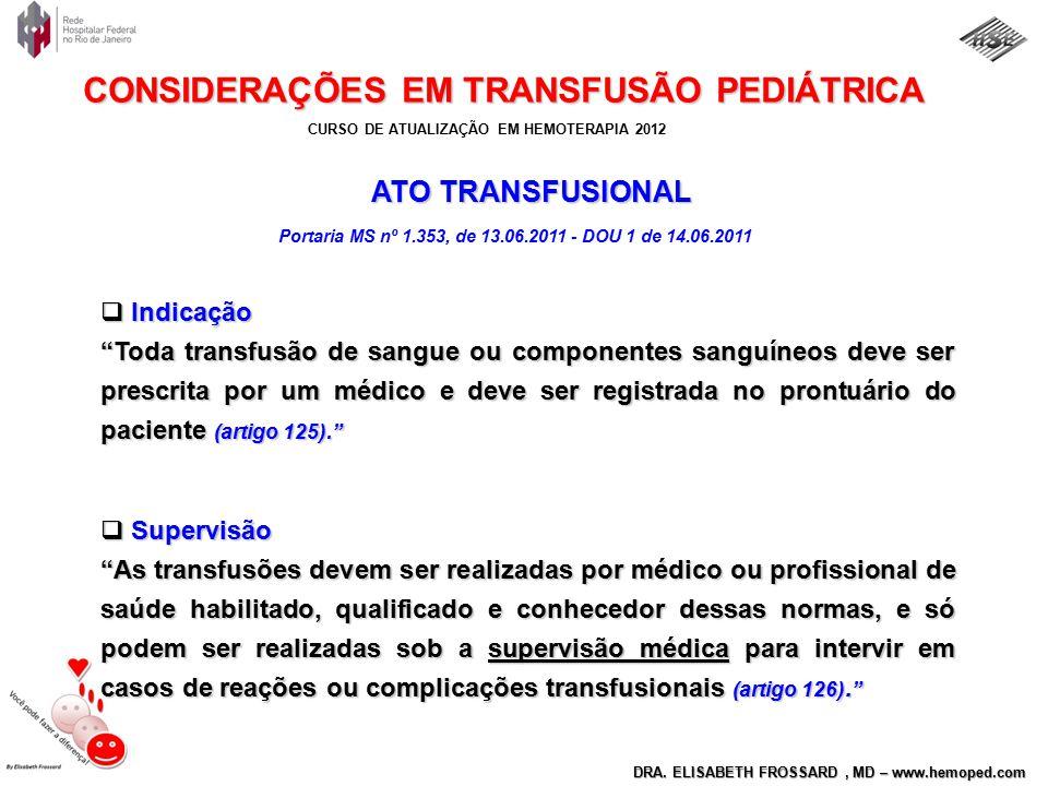 ATO TRANSFUSIONAL Indicação