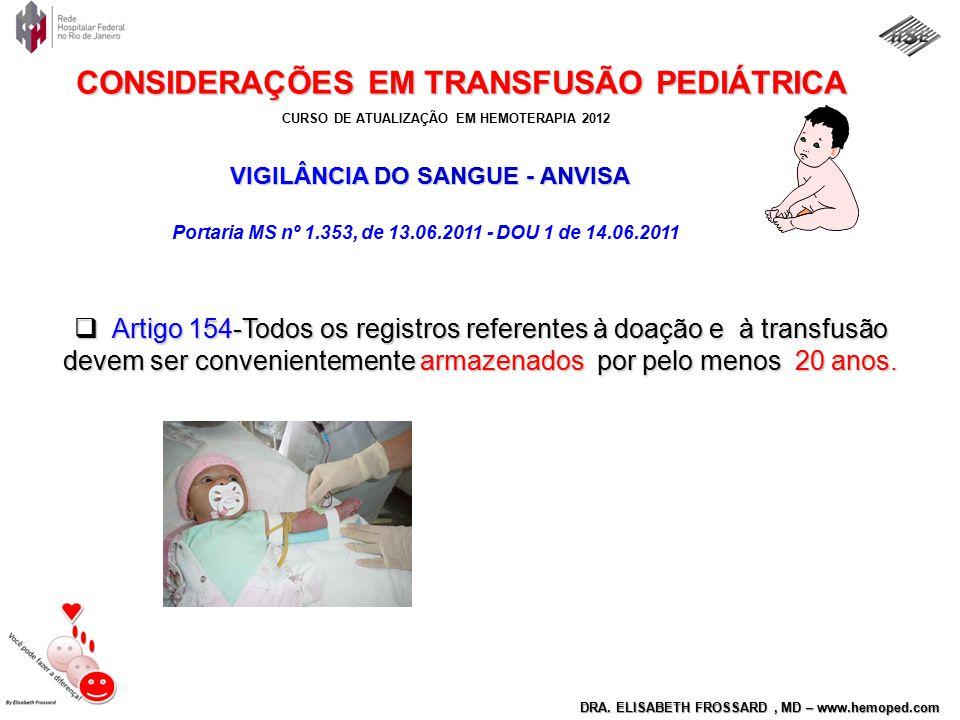VIGILÂNCIA DO SANGUE - ANVISA