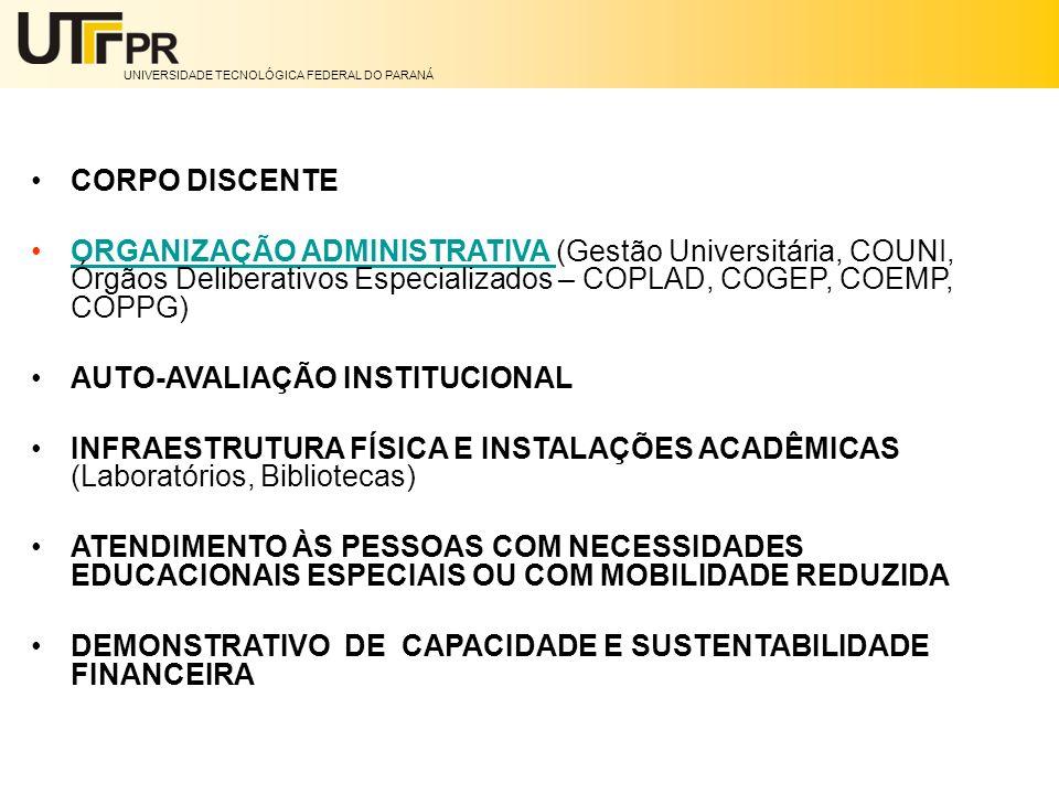 CORPO DISCENTE ORGANIZAÇÃO ADMINISTRATIVA (Gestão Universitária, COUNI, Órgãos Deliberativos Especializados – COPLAD, COGEP, COEMP, COPPG)