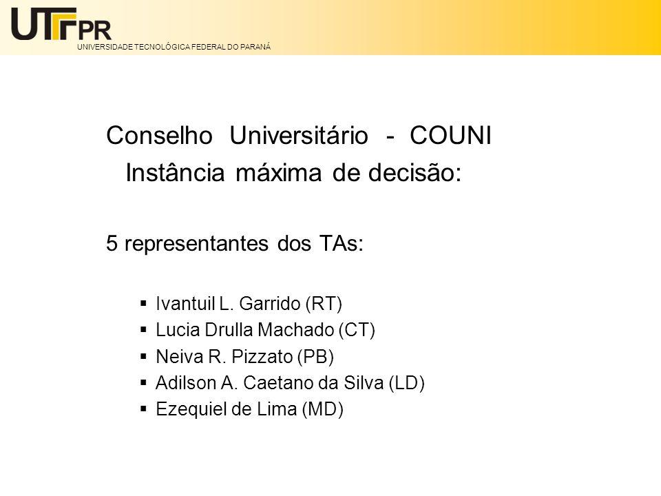Conselho Universitário - COUNI Instância máxima de decisão: