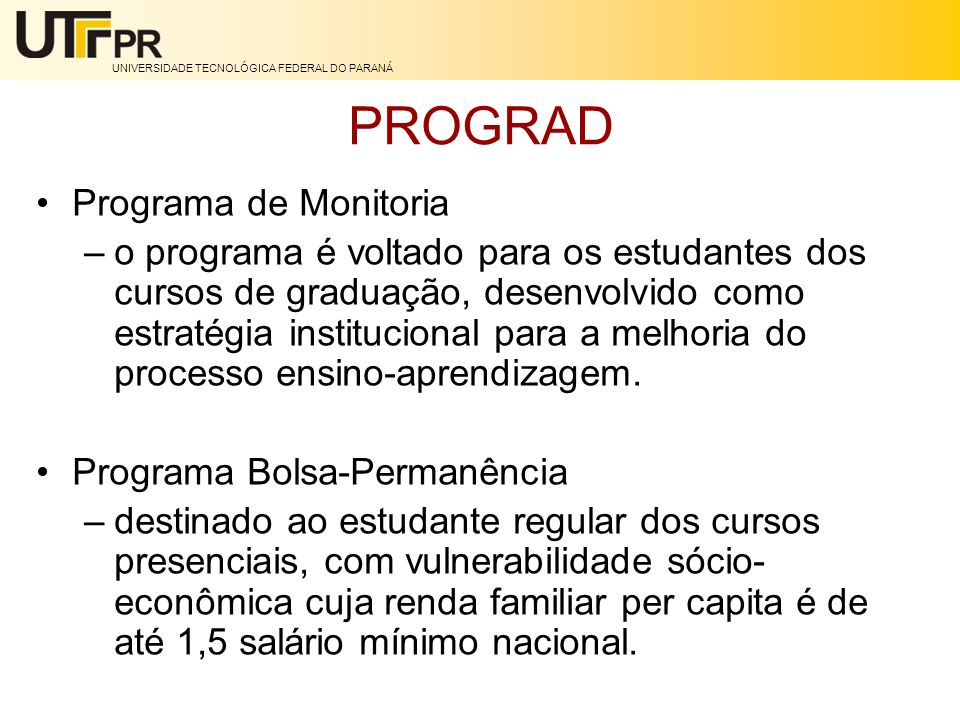 PROGRAD Programa de Monitoria