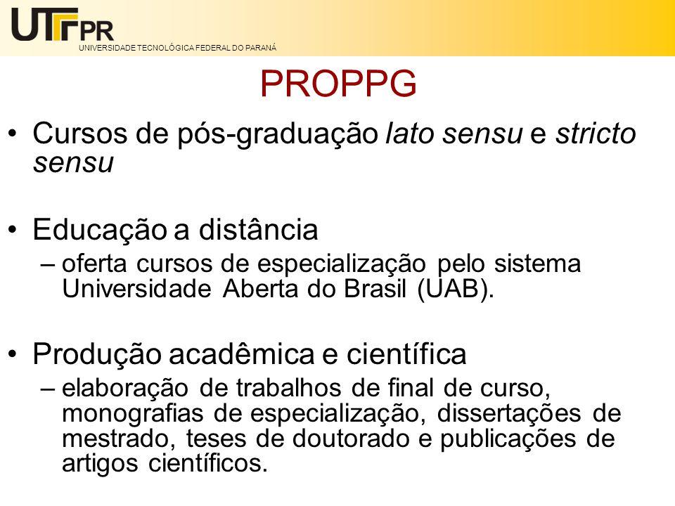 PROPPG Cursos de pós-graduação lato sensu e stricto sensu