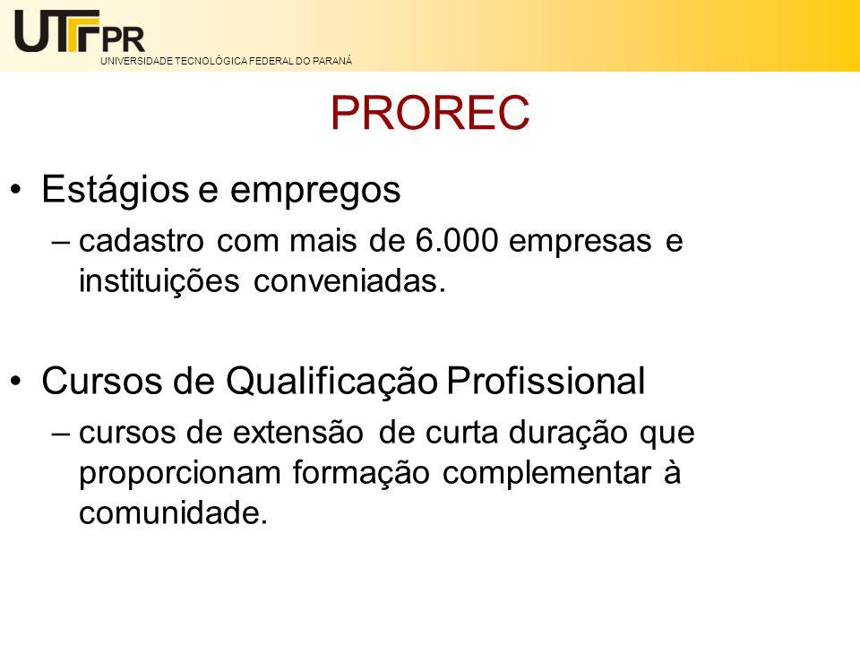 PROREC Estágios e empregos Cursos de Qualificação Profissional