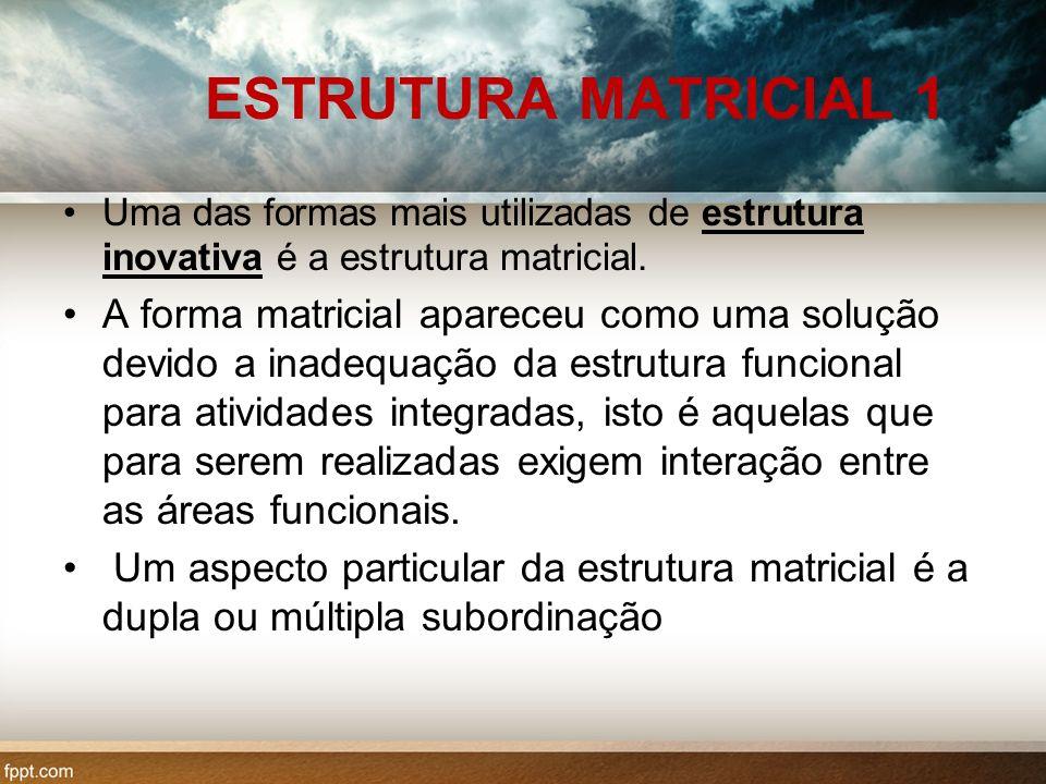 ESTRUTURA MATRICIAL 1 Uma das formas mais utilizadas de estrutura inovativa é a estrutura matricial.
