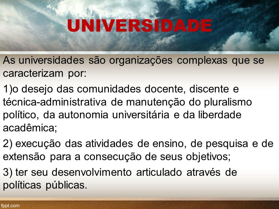 UNIVERSIDADE As universidades são organizações complexas que se caracterizam por: