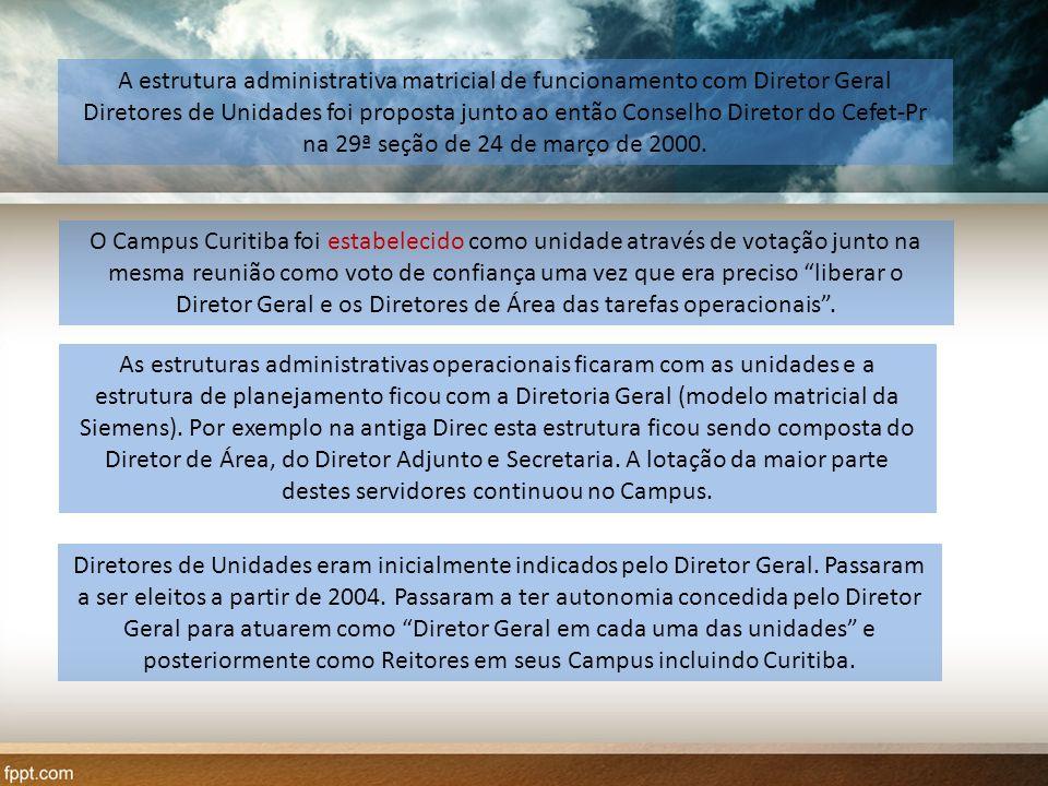 A estrutura administrativa matricial de funcionamento com Diretor Geral Diretores de Unidades foi proposta junto ao então Conselho Diretor do Cefet-Pr na 29ª seção de 24 de março de 2000.