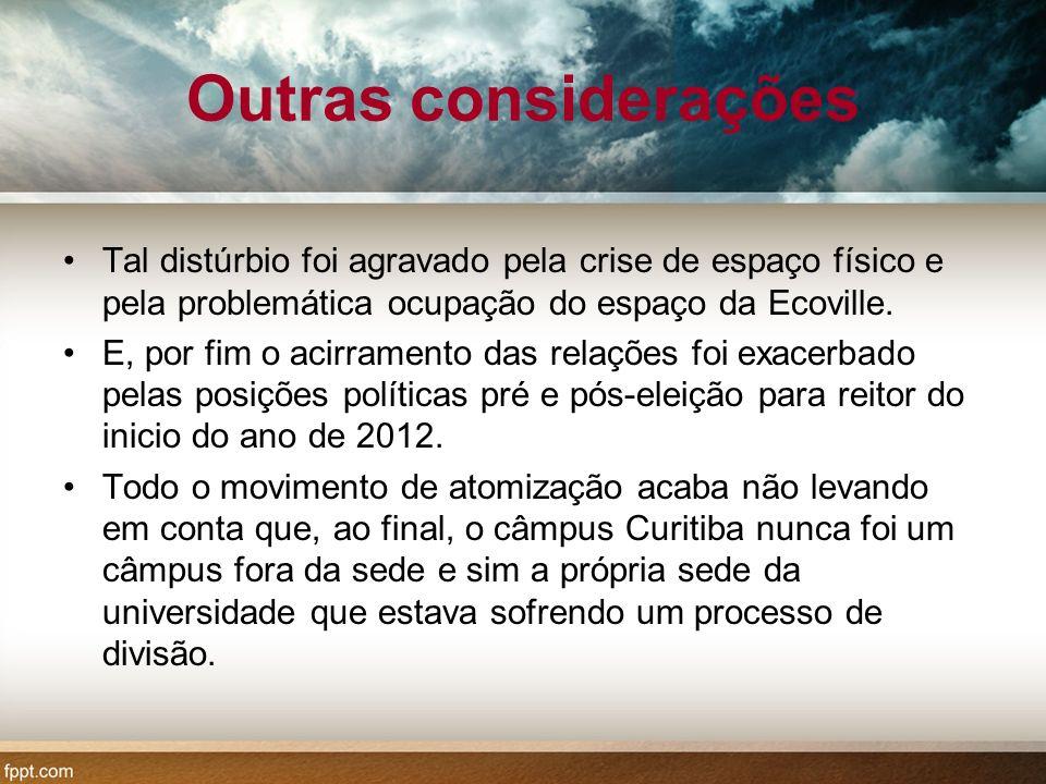 Outras considerações Tal distúrbio foi agravado pela crise de espaço físico e pela problemática ocupação do espaço da Ecoville.