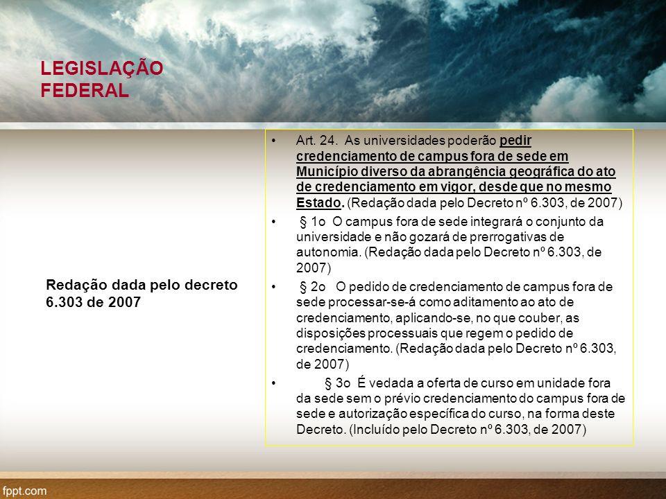 LEGISLAÇÃO FEDERAL Redação dada pelo decreto 6.303 de 2007