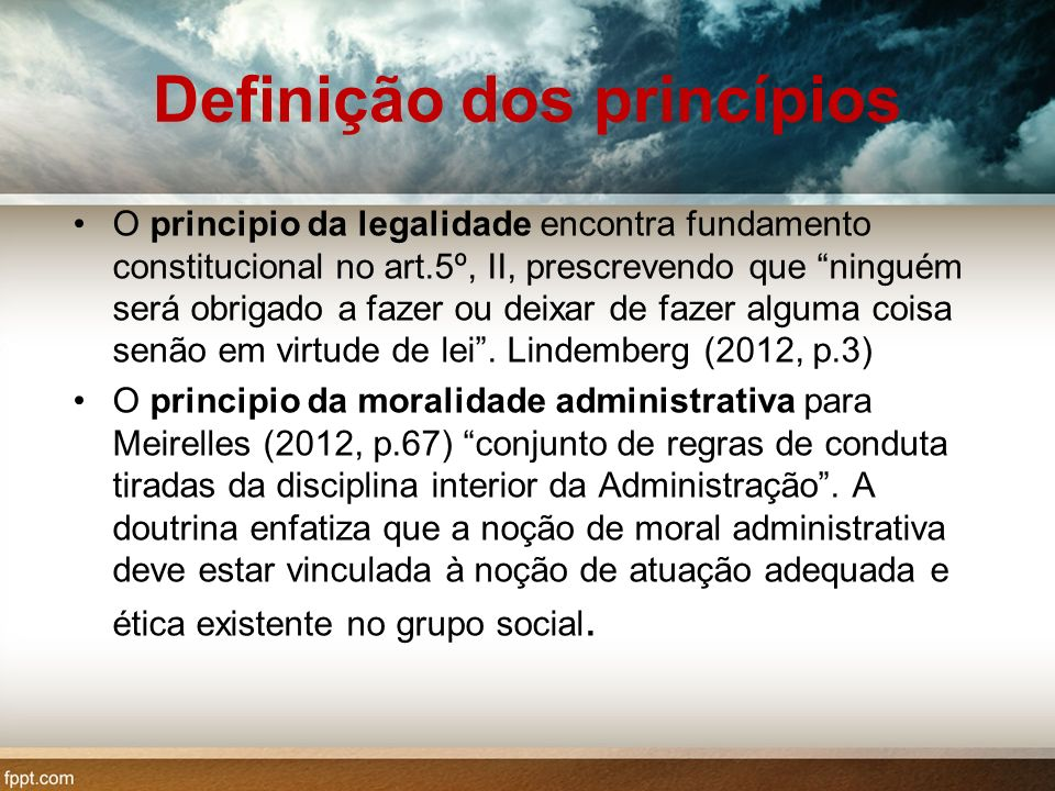 Definição dos princípios