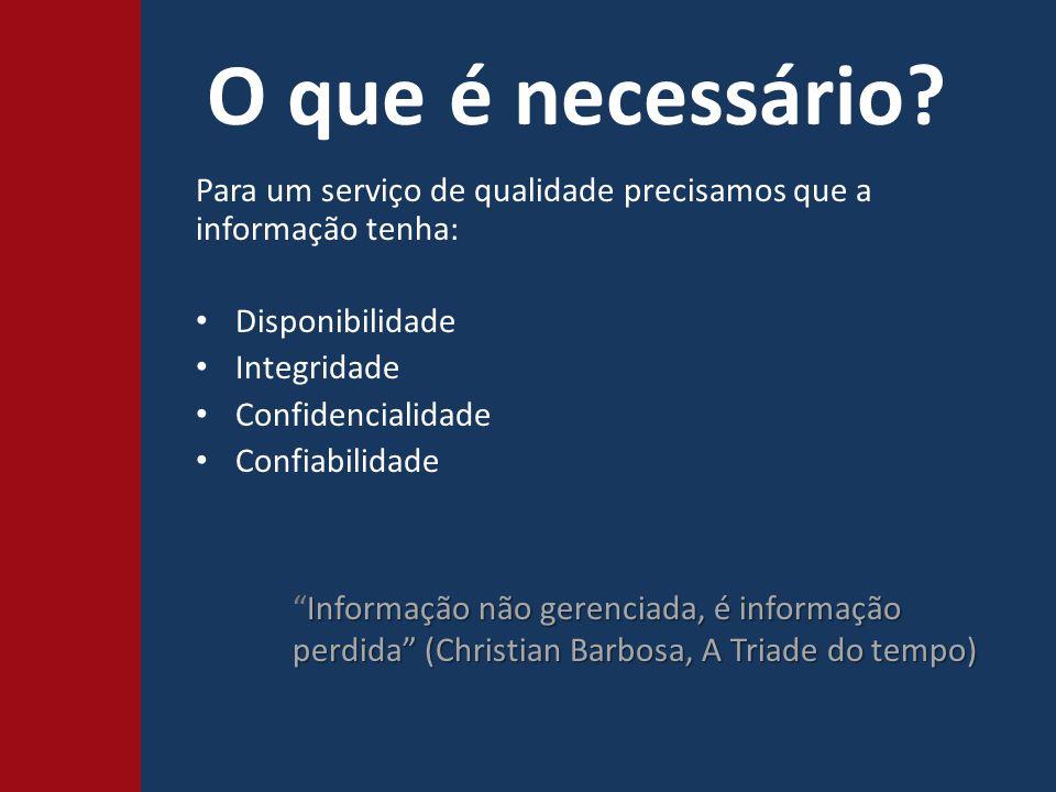 O que é necessário Para um serviço de qualidade precisamos que a informação tenha: Disponibilidade.
