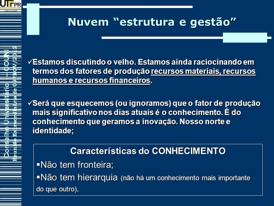 Nuvem estrutura e gestão Características do CONHECIMENTO