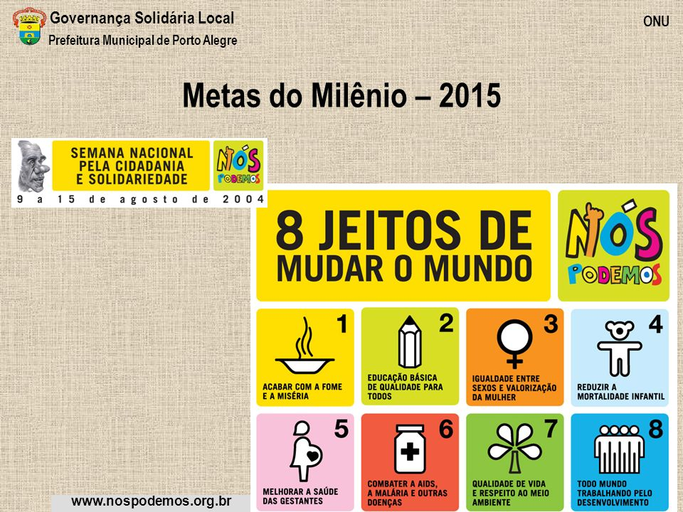 Metas do Milênio – 2015 Governança Solidária Local ONU