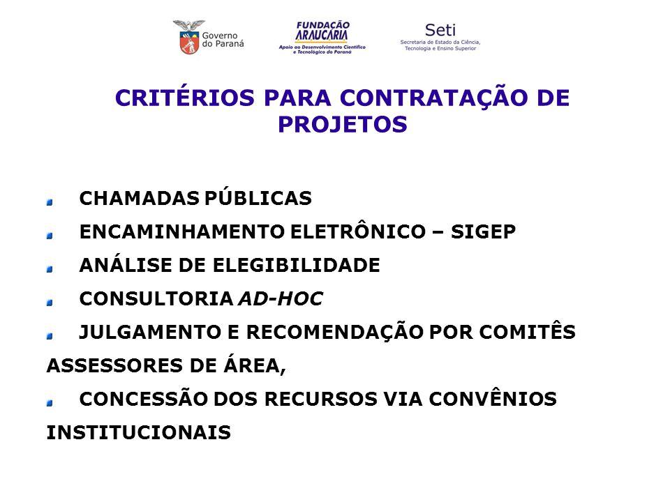 CRITÉRIOS PARA CONTRATAÇÃO DE PROJETOS