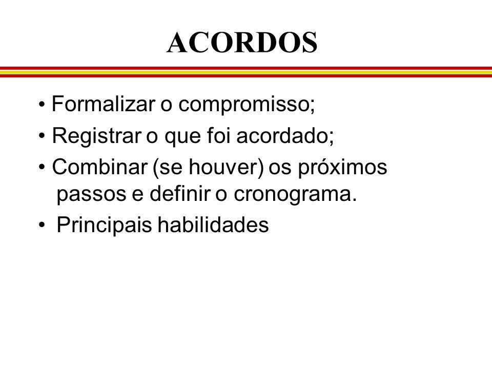 ACORDOS • Formalizar o compromisso; • Registrar o que foi acordado;