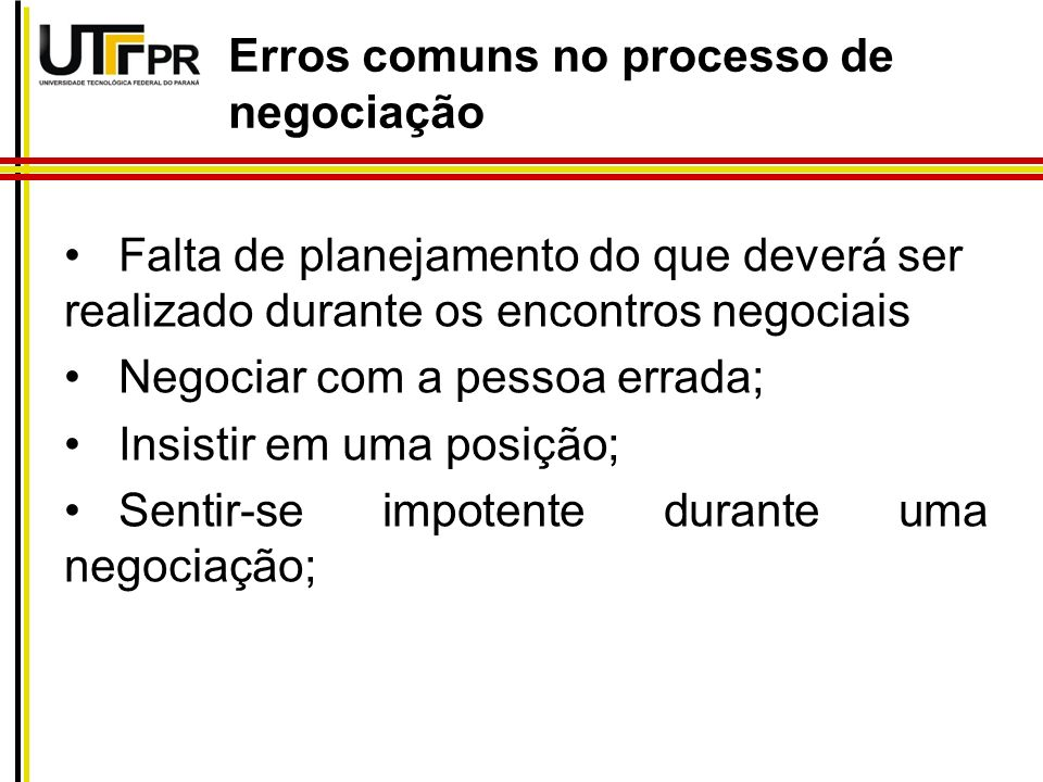 Erros comuns no processo de negociação