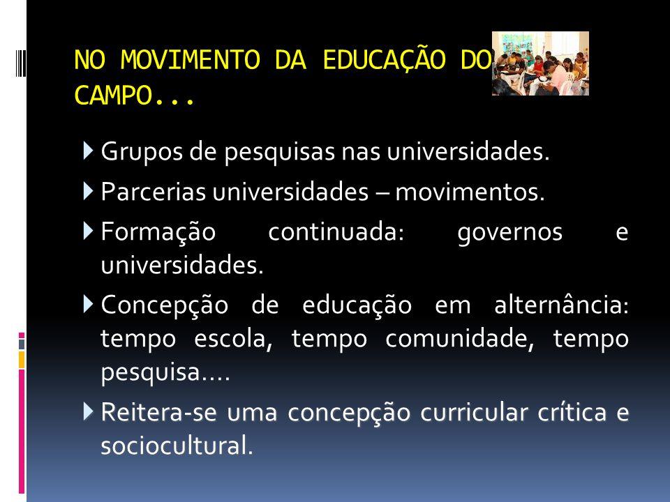 NO MOVIMENTO DA EDUCAÇÃO DO CAMPO...