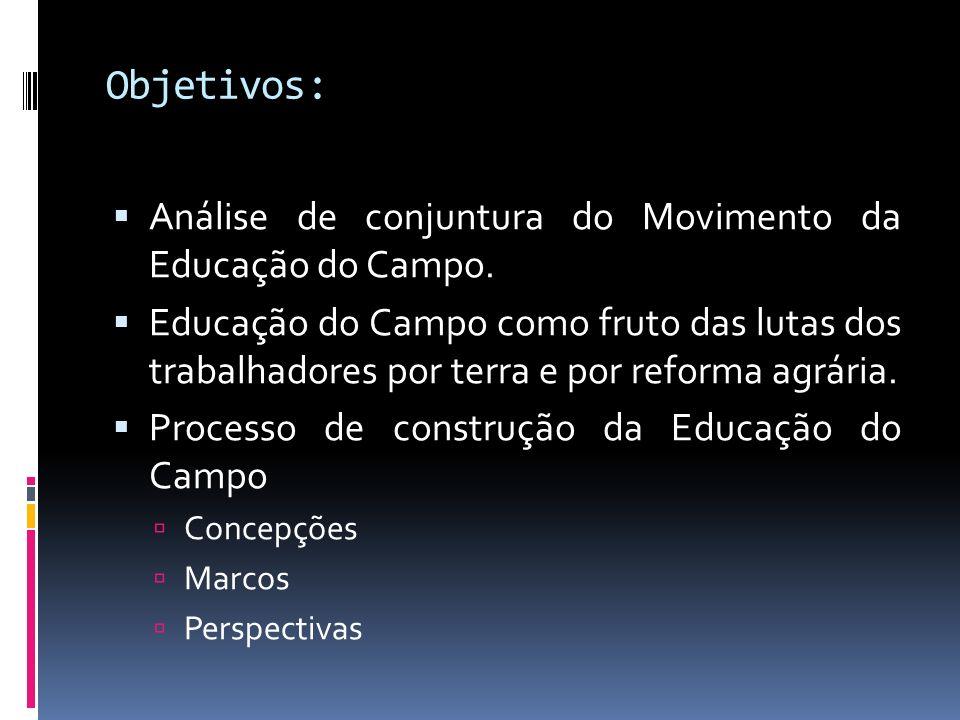 Objetivos: Análise de conjuntura do Movimento da Educação do Campo.