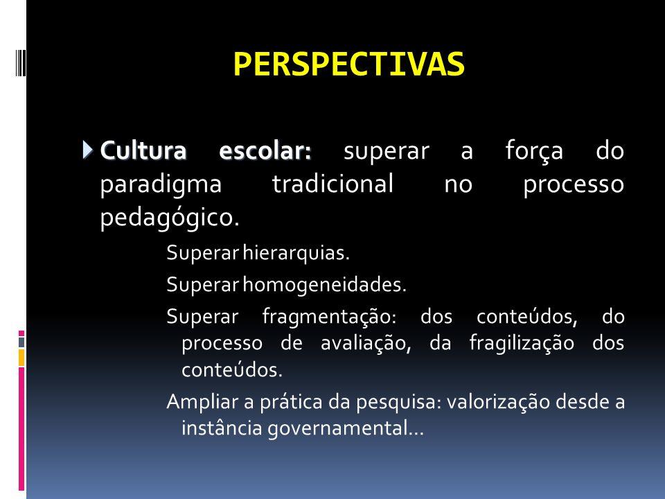 PERSPECTIVAS Cultura escolar: superar a força do paradigma tradicional no processo pedagógico. Superar hierarquias.