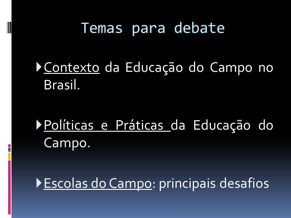 Temas para debate Contexto da Educação do Campo no Brasil.