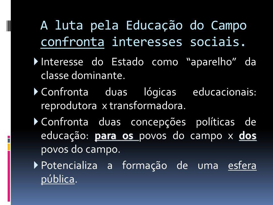 A luta pela Educação do Campo confronta interesses sociais.