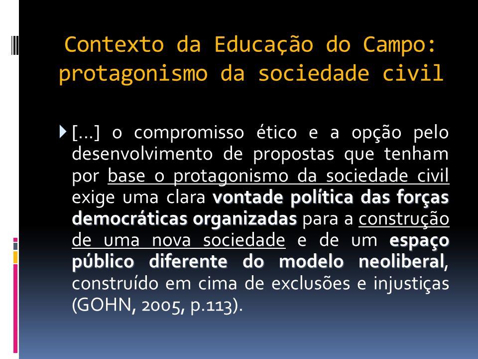 Contexto da Educação do Campo: protagonismo da sociedade civil