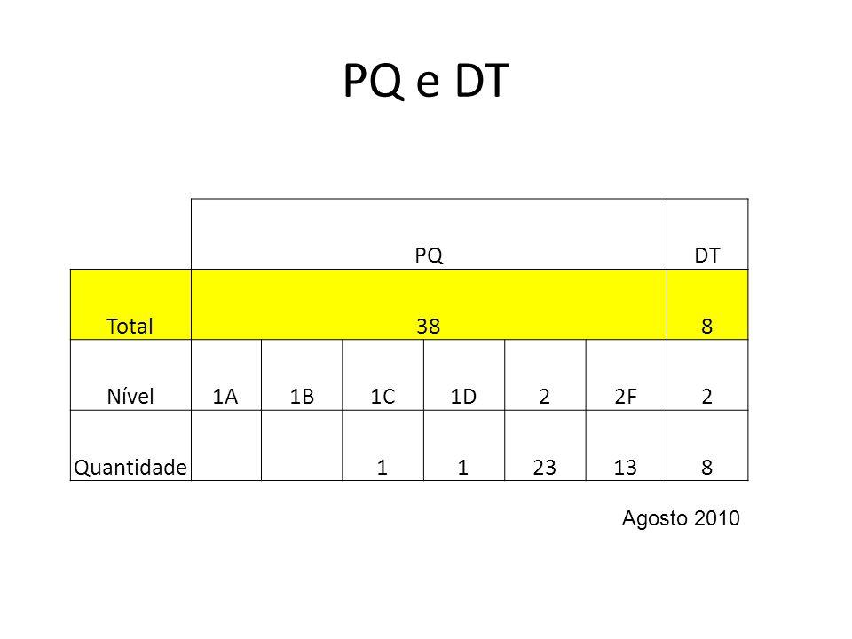 PQ e DT PQ DT Total 38 8 Nível 1A 1B 1C 1D 2 2F Quantidade 1 23 13