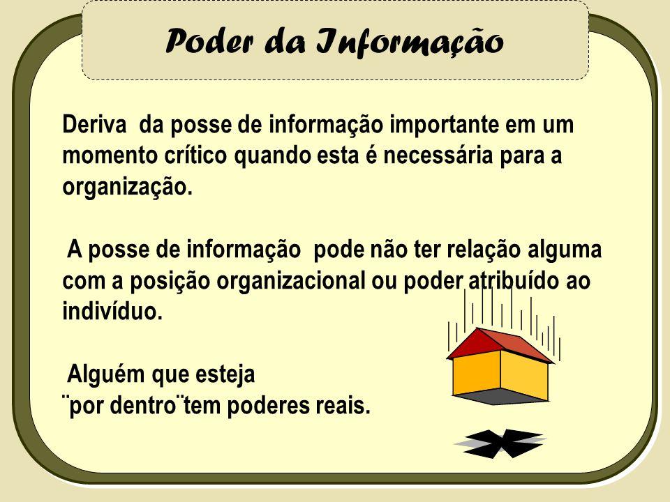 Poder da Informação Deriva da posse de informação importante em um momento crítico quando esta é necessária para a organização.
