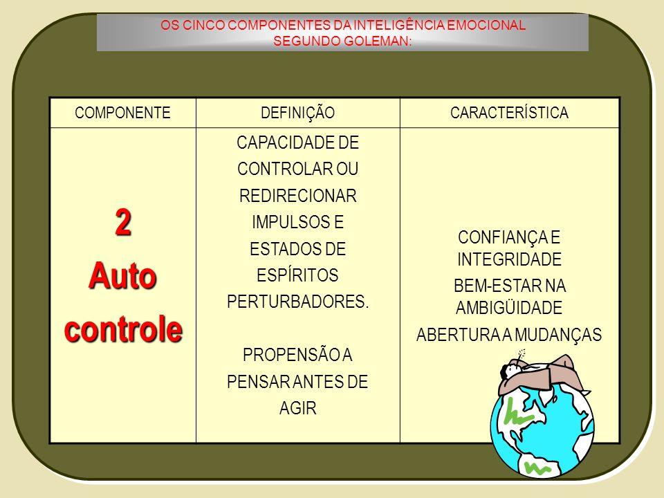 2 Auto controle CAPACIDADE DE CONTROLAR OU REDIRECIONAR IMPULSOS E