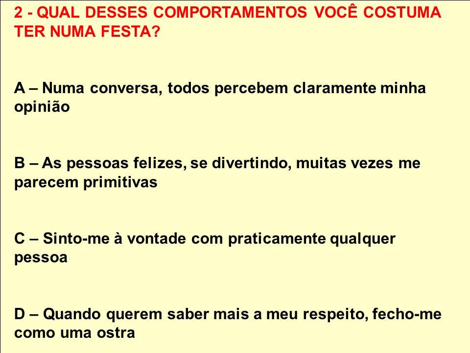 2 - QUAL DESSES COMPORTAMENTOS VOCÊ COSTUMA TER NUMA FESTA