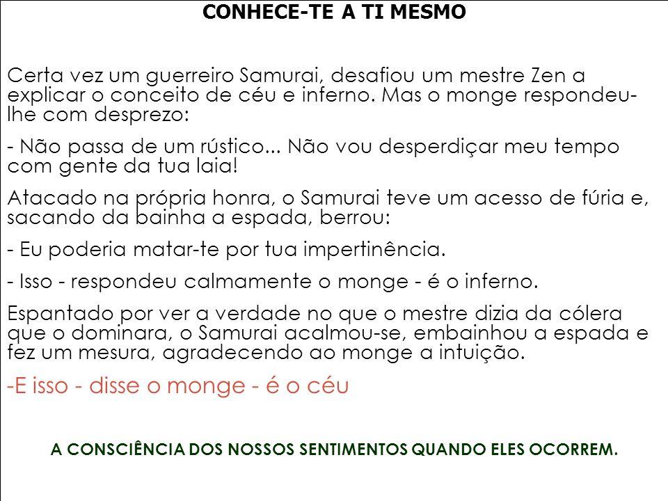 A CONSCIÊNCIA DOS NOSSOS SENTIMENTOS QUANDO ELES OCORREM.