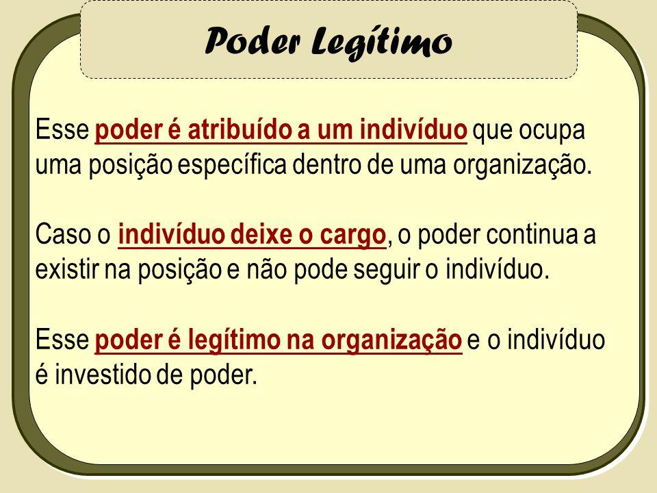 Poder Legítimo Esse poder é atribuído a um indivíduo que ocupa uma posição específica dentro de uma organização.