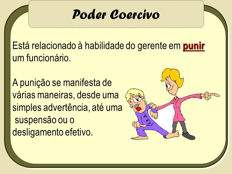 Poder Coercivo Está relacionado à habilidade do gerente em punir um funcionário. A punição se manifesta de.