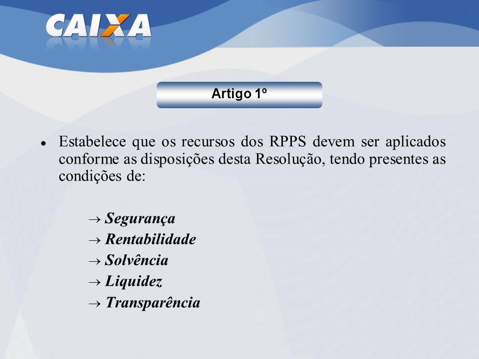 Artigo 1º Estabelece que os recursos dos RPPS devem ser aplicados conforme as disposições desta Resolução, tendo presentes as condições de: