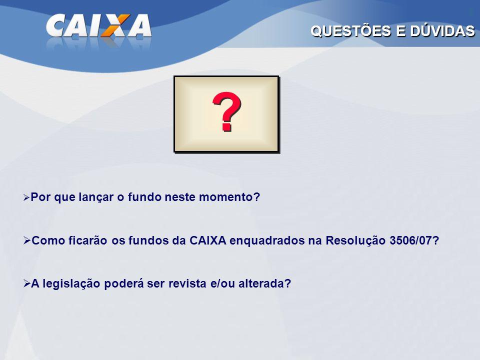 QUESTÕES E DÚVIDAS Por que lançar o fundo neste momento Como ficarão os fundos da CAIXA enquadrados na Resolução 3506/07