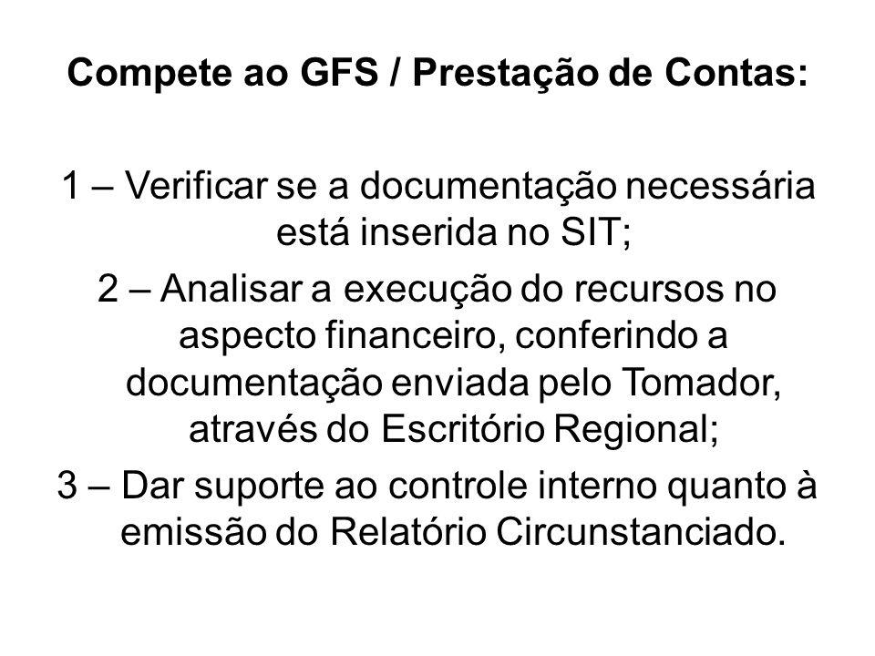 Compete ao GFS / Prestação de Contas: