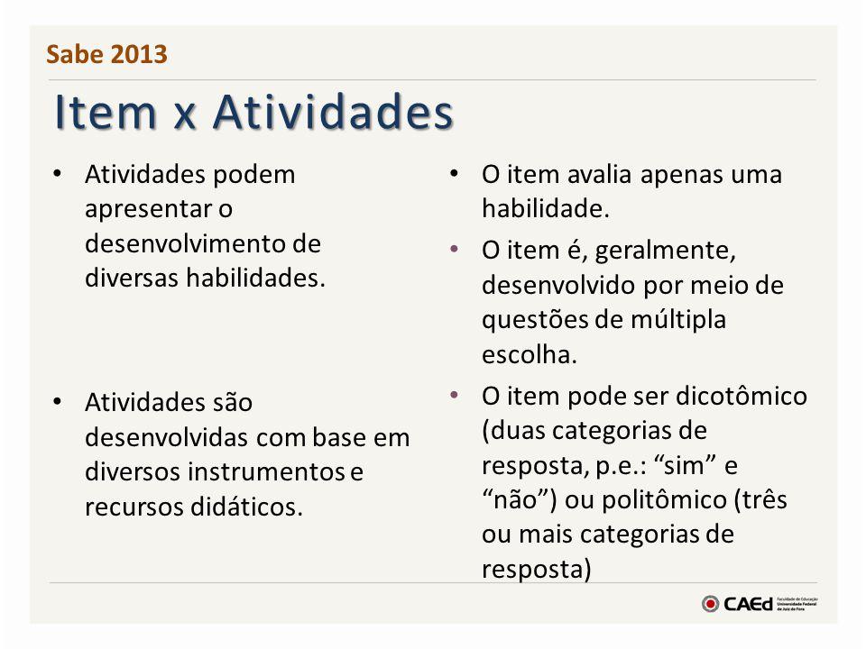 Sabe 2013 Item x Atividades. Atividades podem apresentar o desenvolvimento de diversas habilidades.