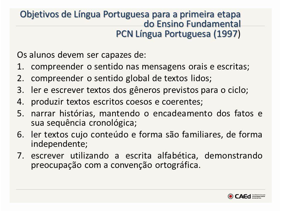 Objetivos de Língua Portuguesa para a primeira etapa do Ensino Fundamental PCN Língua Portuguesa (1997)