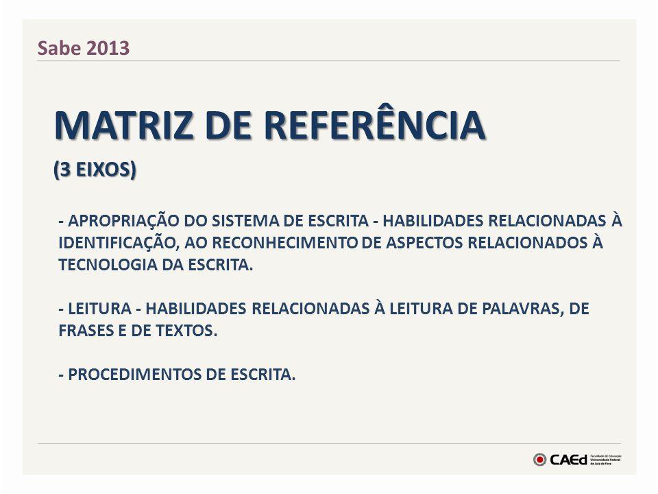 Matriz de Referência Sabe 2013 (3 eixos)