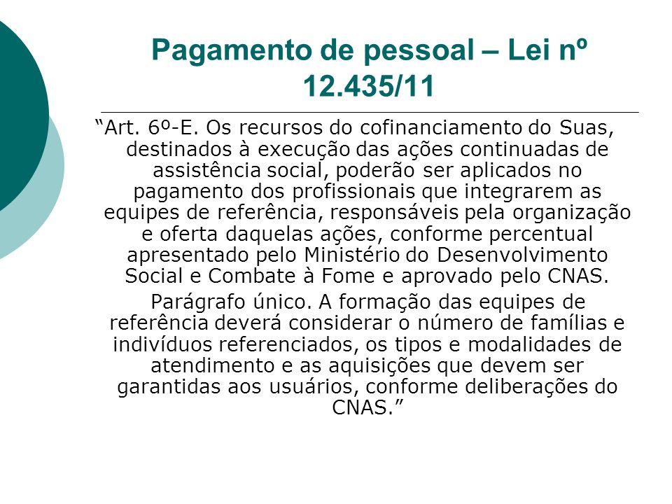 Pagamento de pessoal – Lei nº 12.435/11