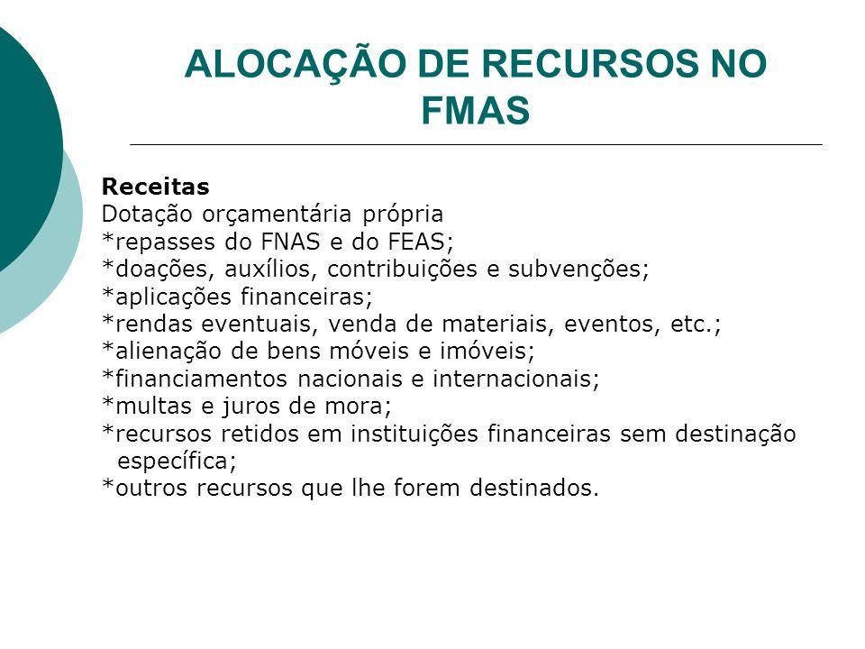 ALOCAÇÃO DE RECURSOS NO FMAS