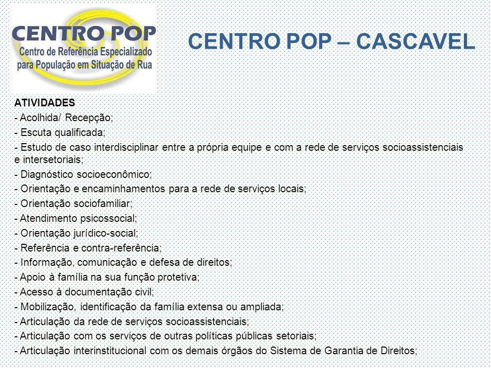 CENTRO POP – CASCAVEL ATIVIDADES - Acolhida/ Recepção;