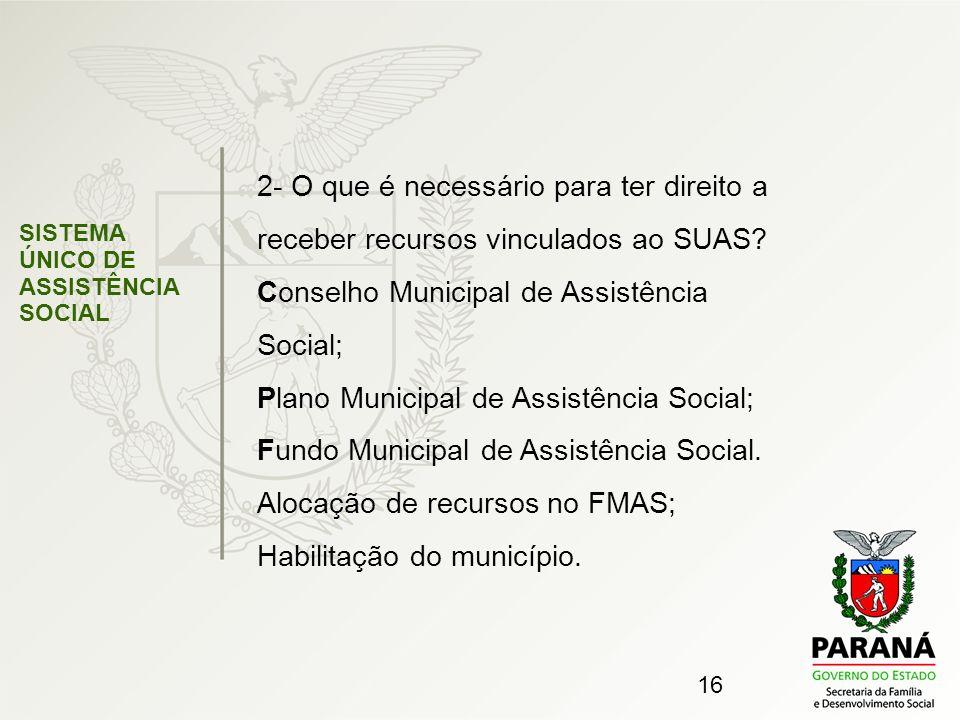 Conselho Municipal de Assistência Social;
