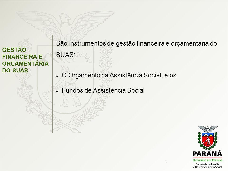 São instrumentos de gestão financeira e orçamentária do SUAS: