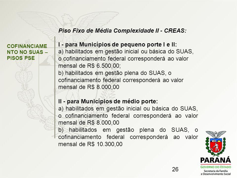 Piso Fixo de Média Complexidade II - CREAS: