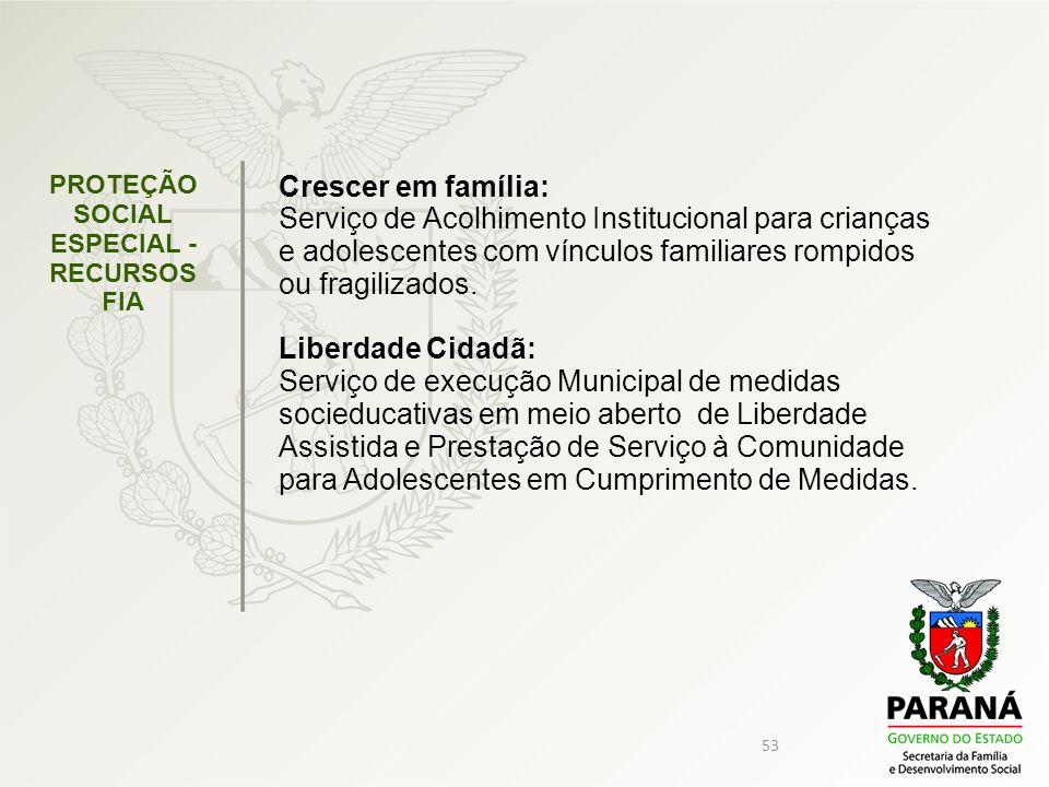 PROTEÇÃO SOCIAL ESPECIAL - RECURSOS FIA