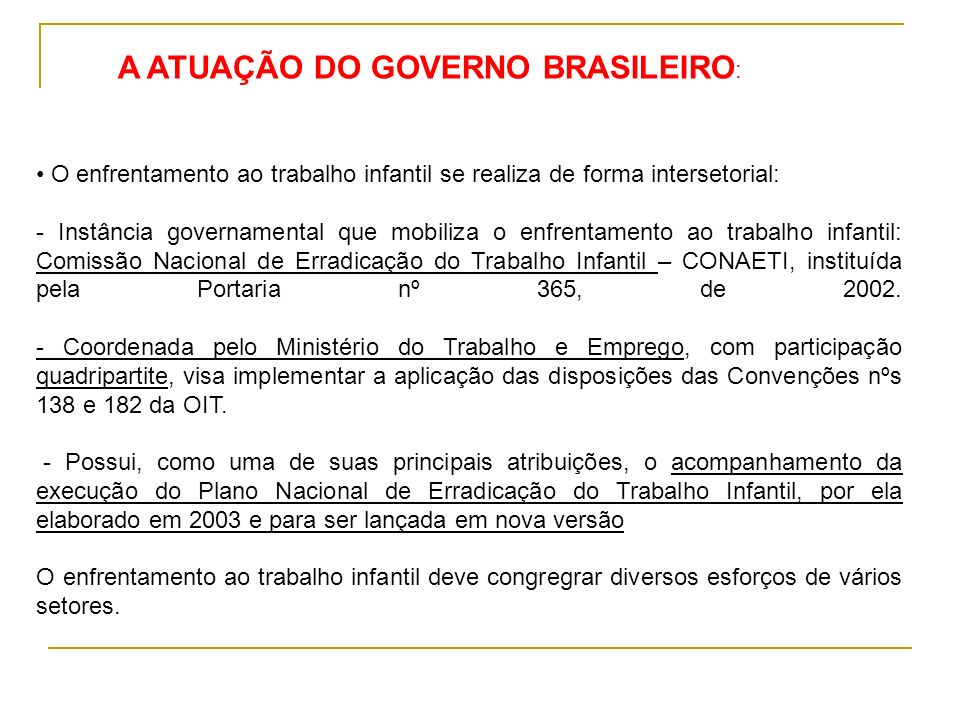 A ATUAÇÃO DO GOVERNO BRASILEIRO: