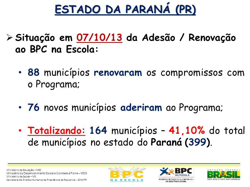 ESTADO DA PARANÁ (PR) Situação em 07/10/13 da Adesão / Renovação ao BPC na Escola: 88 municípios renovaram os compromissos com o Programa;