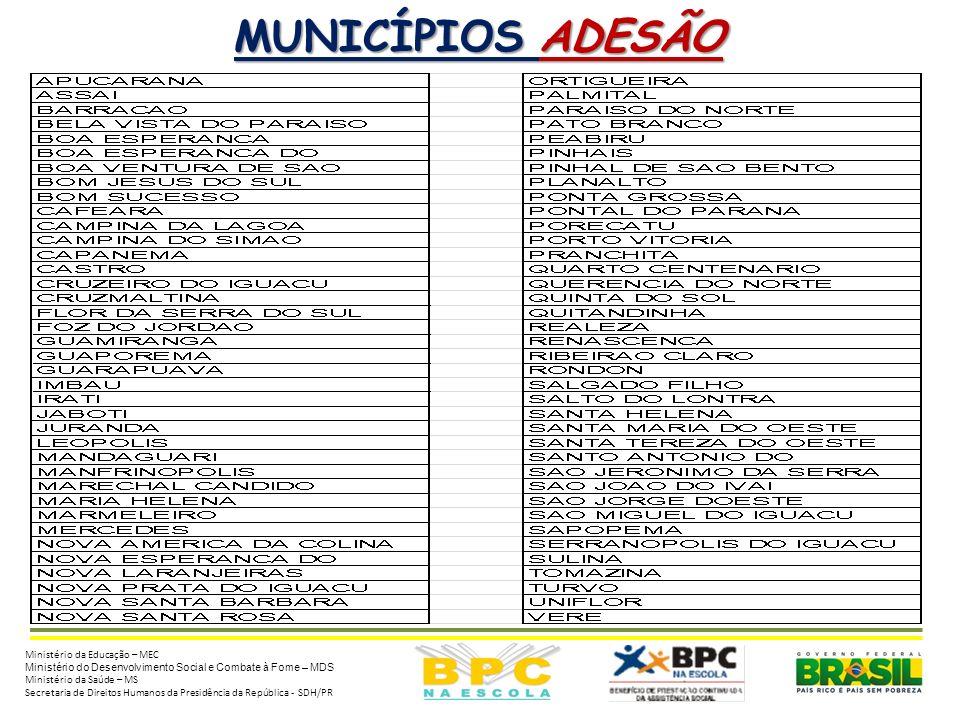 MUNICÍPIOS ADESÃO Ministério da Educação – MEC